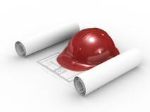 Casco rosso e progetto su priorità bassa bianca Fotografia Stock
