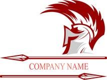 Casco spartano di logo di riserva con la lancia Fotografia Stock Libera da Diritti