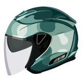 Casco verde de la motocicleta Imagen de archivo libre de regalías