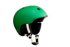 Casco verde del esquí. Fotos de archivo libres de regalías