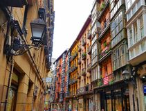 Casco Viejo街道在毕尔巴鄂 免版税库存照片