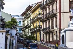 Casco Viejo in Panama City. Old renovated buildings in Casco Viejo, Panama City Stock Image
