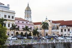 Casco Viejo in Panama City. Old renovated buildings in Casco Viejo, Panama City Stock Images