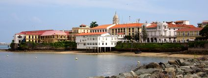 Casco Viejo. PANAMA CITY, PANAMA - JANUARY 18, 2014: Old buildings of Casco Viejo, the historic district of Panama City Panama. Completed and settled in 1673. It Stock Photography