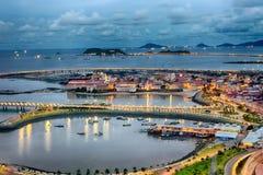 Casco Viejo, Panama przy nocą fotografia royalty free