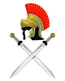Casco y espadas romanos Foto de archivo libre de regalías