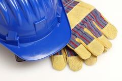 Casco y guantes Imagen de archivo libre de regalías