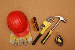 Casco y herramientas Fotografía de archivo libre de regalías