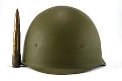 Casco y punto negro del ejército Fotos de archivo