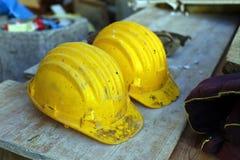 Cascos amarillos Imagen de archivo libre de regalías