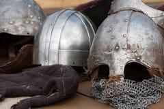 Cascos antiguos del guerrero Imagen de archivo libre de regalías
