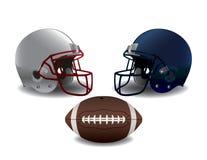Cascos de fútbol americano y ejemplo americanos de la bola Fotografía de archivo libre de regalías