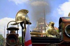 Cascos en una locomotora de vapor vieja Fotos de archivo