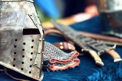 Cascos medievales del caballero Foto de archivo libre de regalías