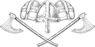 Cascos y hachas de Viking Fotos de archivo libres de regalías