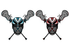 Cascos y palillos del lacrosse Fotos de archivo libres de regalías