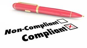 Case à cocher conforme Pen Mark Non Compliance Photos stock