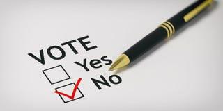 Case à cocher de NO- de vote illustration 3D Image stock