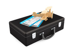 Case, Aeroplane and Airline boarding pass ticket Stock Image