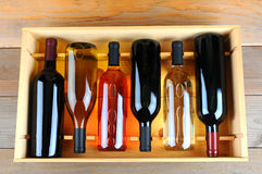 Case of assorted wine bottles Stock Image