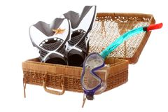 Case with beach equipment. Basket case with beach equipment on white background Stock Photography