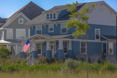 Case blu e grige nell'alba Utah Immagini Stock Libere da Diritti