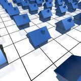 Case blu sulla coordinata Fotografie Stock Libere da Diritti