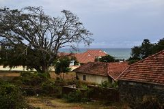 Case britanniche coloniali sulla costa Fotografie Stock