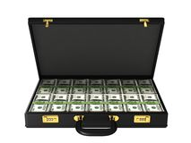 Case with bundles of 100$ banknotes Stock Images