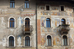 Case Cazuffi Rella - Trento Italy. XIV-XV century - detailed frescoes in the cathedral square in Trento, Italy Stock Image