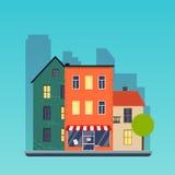 Case classiche a Bergen Città urbana del paesaggio Ill moderno di vettore di progettazione piana illustrazione vettoriale