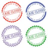 Case closed badge isolated on white background. Flat style round label with text. Circular emblem vector illustration Royalty Free Stock Images