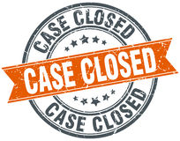 Case closed round orange grungy isolated stamp Stock Photos