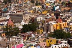 Case colorate, fortificazione delle chiese, Guanajuato Messico Fotografie Stock Libere da Diritti