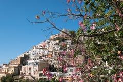 Case Colourful che abbracciano il lato della montagna nella città deliziosa di Positano sulla costa di Amalfi in Italia del sud fotografia stock