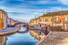 case in Comacchio, piccola Venezia Fotografia Stock Libera da Diritti