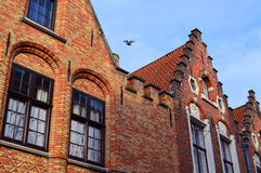 Case con mattoni a vista di Bruges fotografie stock