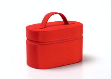 Case for cosmetic stuff. Red case for cosmetic products and jewelry Royalty Free Stock Photos