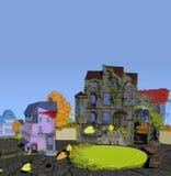 Case d'annata in autunno con cielo blu Fotografia Stock Libera da Diritti