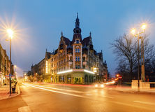 Case d'annata sulla via a Gliwice, Polonia fotografie stock libere da diritti