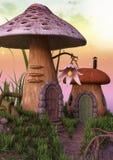 Case del fungo di favola con un fiore Fotografia Stock