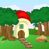 Case del fungo nel giardino illustrazione vettoriale