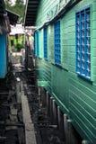 Case del trampolo al paesino di pescatori cinese in Pulau Ketam vicino a Klang Selangor Malesia Fotografia Stock Libera da Diritti