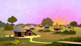 Case del villaggio della tribù al tramonto Immagine Stock