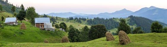 Case del villaggio sulle colline con i prati verdi nel giorno di estate Camera Fotografia Stock