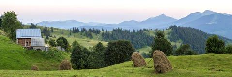 Case del villaggio sulle colline con i prati verdi nel giorno di estate Camera Fotografie Stock Libere da Diritti