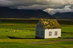 Case del XIX secolo del tappeto erboso all'azienda agricola di Glaumbaer Fotografia Stock Libera da Diritti