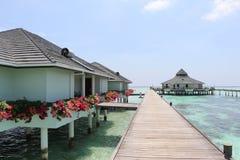 Case dell'acqua e del ponte maldives Fotografie Stock Libere da Diritti