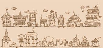 Case dell'illustrazione della mano del fumetto, vettore royalty illustrazione gratis