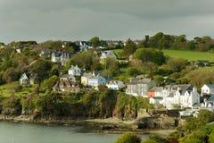 Case dell'Irlandese della spiaggia fotografia stock